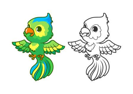 animaux du zoo: petit perroquet mignon. caractère vectoriel de dessin animé isolé sur un fond blanc avec contour noir.