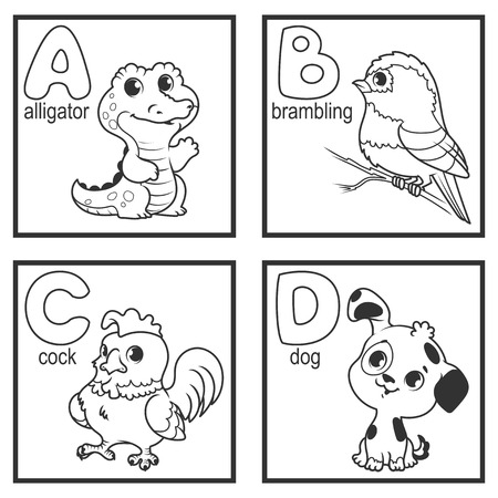 alligator cartoon: An alphabet with cute animals, letters A to D. Funny cartoon animals. Cartoon vector alphabet isolated on a white background.