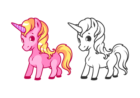 Cute little unicorn. Cartoon vector character isolated on a white background with black outline. Vettoriali