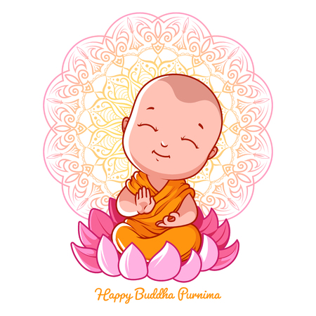 Little cartoon monk on the lotus. Greeting card for Buddha birthday. Vector illustration isolated on a white background.
