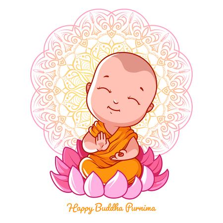 Weinig cartoon monnik op de lotus. Wenskaart voor Boeddha verjaardag. Vector illustratie die op een witte achtergrond.