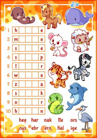 nutria caricatura: rebus juego educativo con animales divertidos para los niños en edad preescolar. Encuentra la pieza correcta de las palabras. ilustración vectorial de dibujos animados.