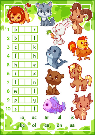 Educational rebus game with cute animals for preschool kids. Find the correct part of words. Cartoon vector illustration. Vectores