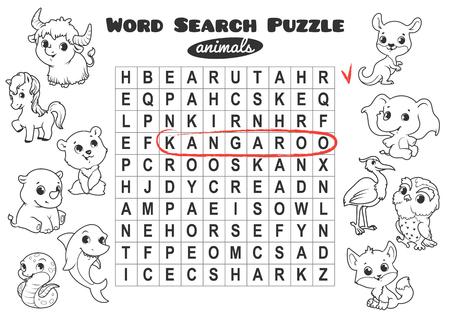 Lernspiel für Kinder, Wortsuche. Wortsuchrätsel mit Tieren. Arbeitsblatt für die Klasse oder zu Hause mit den Kindern. A4-Format. Horizontale Ausrichtung. Vektorgrafik