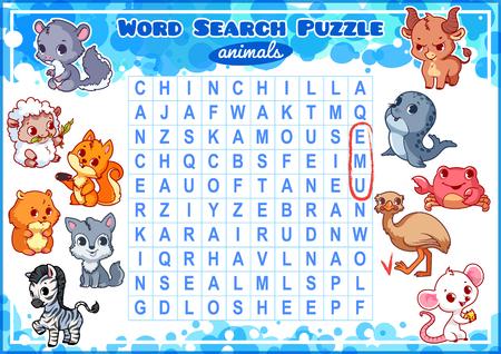 alumnos en clase: Juego educativo para los niños, búsqueda de palabras. sopa de letras con los animales. Hoja de trabajo para la clase o en casa con los niños. tamaño A4. La orientación horizontal.