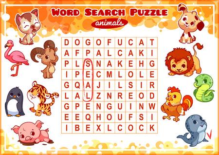 animal cock: Gioco educativo per i bambini, ricerca di parola. Ricerca di Word Puzzle con gli animali. Foglio di lavoro per la classe oa casa con i bambini. formato A4. Orientamento orizzontale.