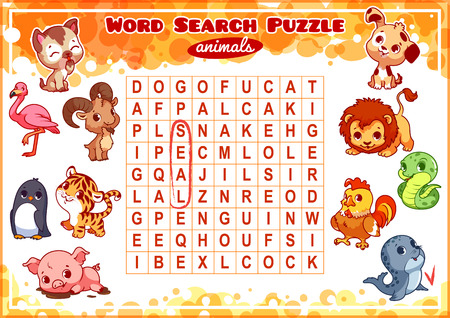 Educational game for kids, word search. Word search puzzle with animals. Worksheet for class or at home with the kids. A4 size. Horizontal orientation.