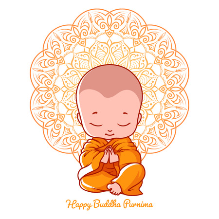 Little meditating monk. Greeting card for Buddha birthday. Vector cartoon illustration isolated on a white background.