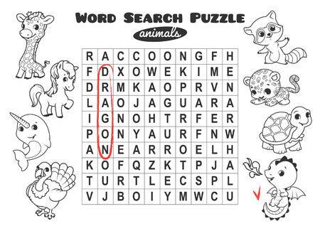 horizontal orientation: Educational game for kids, word search. Word search puzzle with animals. Worksheet for class or at home with the kids. A4 size. Horizontal orientation.