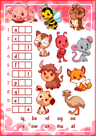 kitten cartoon: Educational rebus game with cute animals for preschool kids. Find the correct part of words. Cartoon vector illustration. Illustration