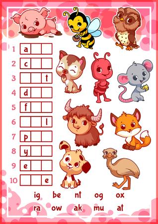 preescolar: rebus juego educativo con animales divertidos para los niños en edad preescolar. Encuentra la pieza correcta de las palabras. ilustración vectorial de dibujos animados.