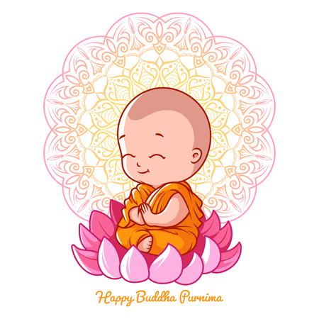 buddhist: Little cartoon monk on the lotus. Greeting card for Buddha birthday. Vector illustration isolated on a white background.