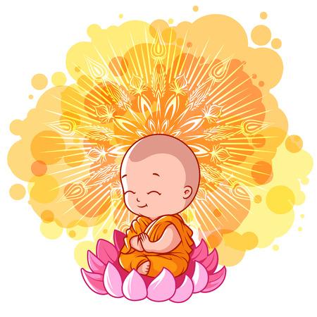 Little meditating monk on the lotus Stock Illustratie