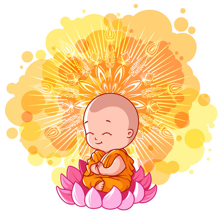 Little meditating monk on the lotus Vectores
