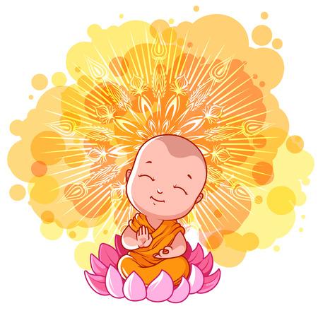 Little meditating monk on the lotus Иллюстрация