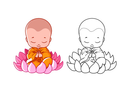 Kleine Comic-Mönch auf dem Lotus Standard-Bild - 55589343