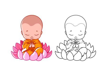 Pequeño monje de dibujos animados en la flor de loto Ilustración de vector