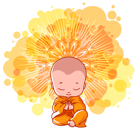 Little meditating monk