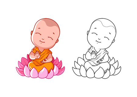 Little cartoon monk on the lotus. Page for coloring book.