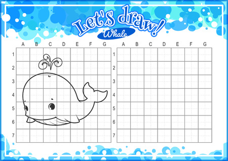 horizontal orientation: Educational game for kids. How to draw cute cartoon whale. Drawing with grid. Worksheet for class or at home with the kids. A4 size. Horizontal orientation.