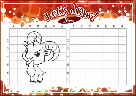 horizontal orientation: Educational game for kids. How to draw cute cartoon ibex. Drawing with grid. Worksheet for class or at home with the kids. A4 size. Horizontal orientation. Illustration