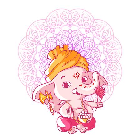 Little cute Ganesha. Cartoon character. Vector cartoon illustration on a white background.  イラスト・ベクター素材