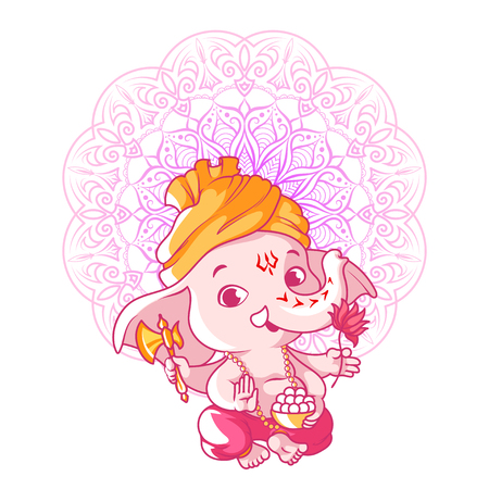 Little cute Ganesha. Cartoon character. Vector cartoon illustration on a white background. Illustration
