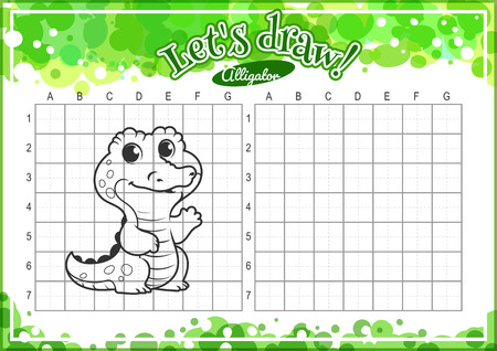 horizontal orientation: Educational game for kids. How to draw cute cartoon alligator. Drawing with grid. Worksheet for class or at home with the kids. A4 size. Horizontal orientation. Illustration