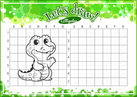 alumnos en clase: Juego educativo para los niños. Cómo dibujar cocodrilo lindo de la historieta. Dibujo con rejilla. Hoja de trabajo para la clase o en casa con los niños. tamaño A4. La orientación horizontal.