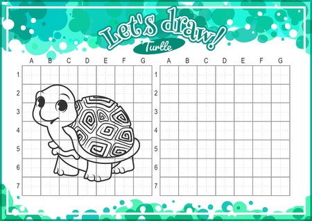 horizontal orientation: Educational game for kids. How to draw cute cartoon turtle. Drawing with grid. Worksheet for class or at home with the kids. A4 size. Horizontal orientation. Illustration