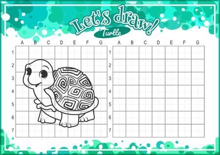 alumnos en clase: Juego educativo para los niños. Cómo dibujar tortuga linda de la historieta. Dibujo con rejilla. Hoja de trabajo para la clase o en casa con los niños. tamaño A4. La orientación horizontal.