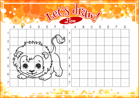 alumnos en clase: Educational game for kids. How to draw cute cartoon lion. Drawing with grid. Worksheet for class or at home with the kids. A4 size. Horizontal orientation.