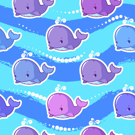 cachalot: Vector seamless pattern with whale. Funny background with animals for kids.