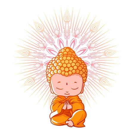 Kleiner Buddha meditieren. Zeichentrickfigur. Vektor-Cartoon-Illustration auf einem weißen Hintergrund.