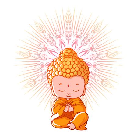 Little meditating Buddha. Cartoon character. Vector cartoon illustration on a white background.