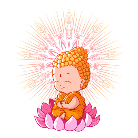Little meditating Buddha on the lotus. Cartoon character. Vector cartoon illustration on a white background.  イラスト・ベクター素材