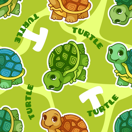 carapace: Vector seamless pattern with turtle. Funny background with animals for kids.
