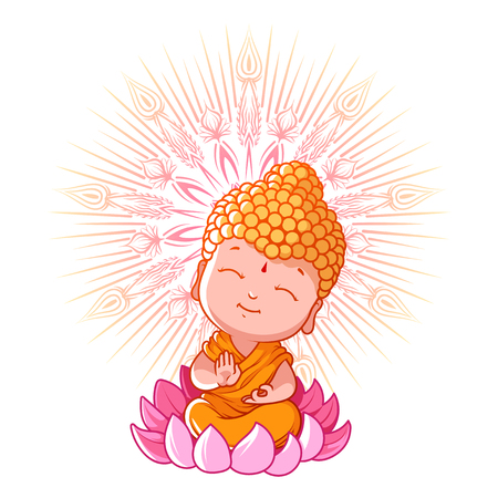 Little meditating Buddha on the lotus. Cartoon character. Vector cartoon illustration on a white background. Stock Illustratie