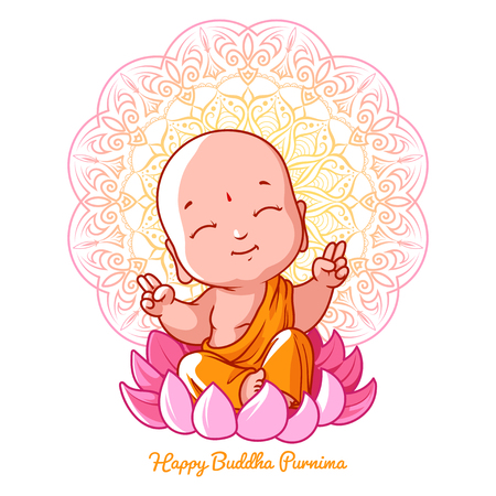 Little meditating Buddha on the lotus. Cartoon character. Vector cartoon illustration on a white background.