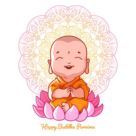 Little meditating Buddha on the lotus. Cartoon character. Vector cartoon illustration on a white background. Stock Illustratie