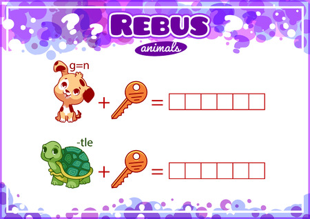 brainteaser: Educational rebus game for kids. Worksheet for class or at home with the kids. A4 size. Horizontal orientation.