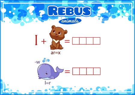 alumnos en clase: rebus juego educativo para los niños. Hoja de trabajo para la clase o en casa con los niños. tamaño A4. La orientación horizontal.