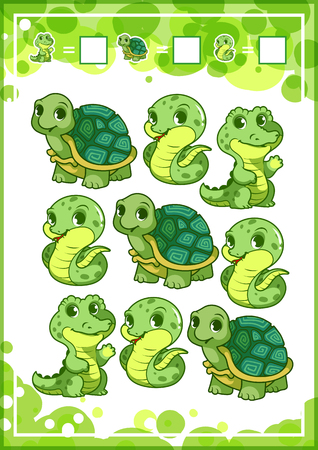 mental object: Education counting game for preschool kids with funny animals. How many turtles, snakes, and alligators do you see? Cartoon vector illustration. Illustration