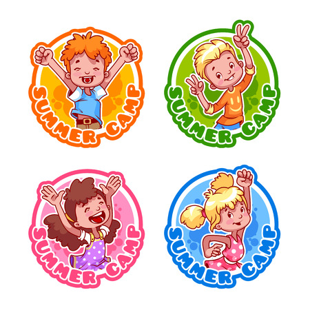 girl scout: Set of four stickers with happy kids. Illustration