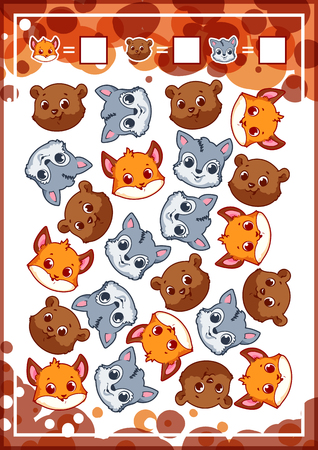 enumerate: Education counting game for preschool kids with funny animals. How many foxes, bears, and wolfs do you see? Cartoon vector illustration.