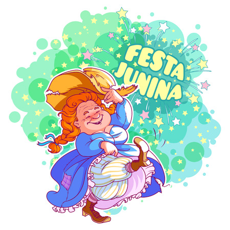 Greeting card for june festival in brazil dancing old lady in greeting card for june festival in brazil dancing old lady in blue dress vector m4hsunfo