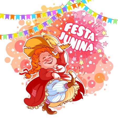 hick: Greeting card for June Festival in Brazil. Illustration