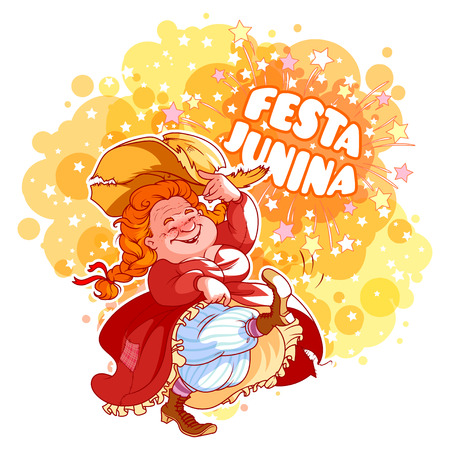 hick: Greeting card for June Festival in Brazil. Dancing old lady in red dress. Vector cartoon character.