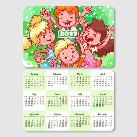 horizontal orientation: Calendar for 2017 year with happy children. Week Starts Monday. Funny cartoon characters. Vector calendar template horizontal orientation. Illustration