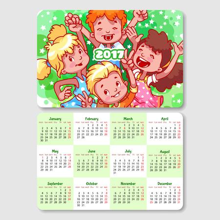 Bien connu Calendario Per Il 2017 Anno Con I Bambini Felici. Clipart Royalty  BJ02